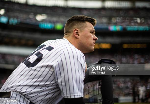 Luke Voit of the New York Yankees looks on during the game against the Baltimore Orioles at Yankee Stadium on Saturday September 22 2018 in the Bronx...
