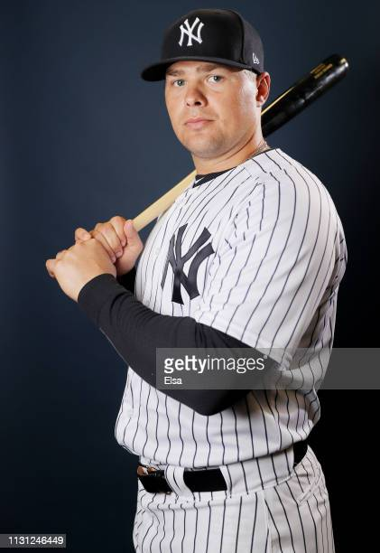 Luke Voit of the New York Yankees poses for a portrait during the New York Yankees Photo Day on February 21, 2019 at George M. Steinbrenner Field in...
