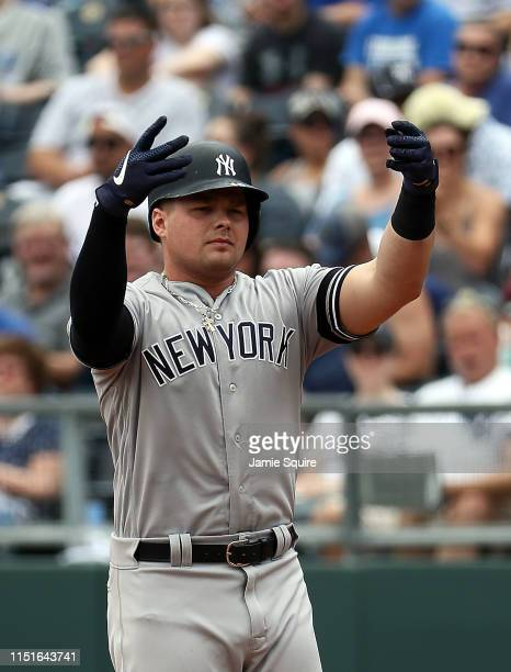 Luke Voit of the New York Yankees reacts after a single during the game against the Kansas City Royals at Kauffman Stadium on May 25 2019 in Kansas...