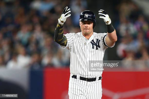 Luke Voit of the New York Yankees reacts after hitting a double to left field in the sixth inning against the Tampa Bay Rays at Yankee Stadium on May...