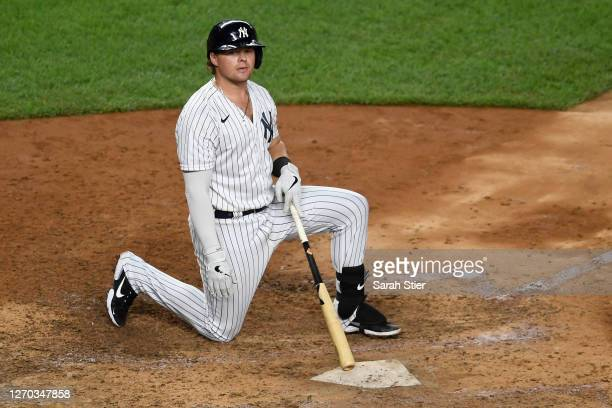 Luke Voit of the New York Yankees reacts after striking out during the seventh inning against the Tampa Bay Rays at Yankee Stadium on September 02,...