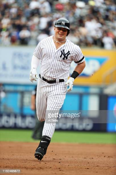 Luke Voit of the New York Yankees rounds the bases after his first inning home run against Chris Paddack of the San Diego Padres during their game at...