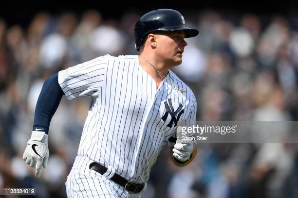 Luke Voit of the New York Yankees runs the bases after hitting a home run during the first inning of the game against the Baltimore Orioles on...