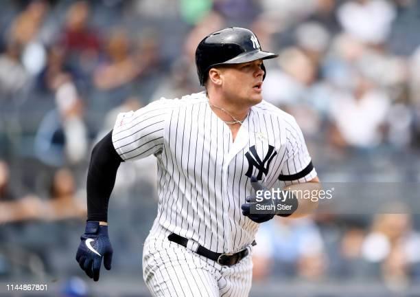 Luke Voit of the New York Yankees runs to first base during the first inning of the game against the Kansas City Royals at Yankee Stadium on April 21...