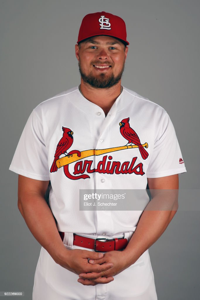 Luke Voit #40 of the St. Louis Cardinals poses during Photo Day on Tuesday, February 20, 2018 at Roger Dean Stadium in Jupiter, Florida.
