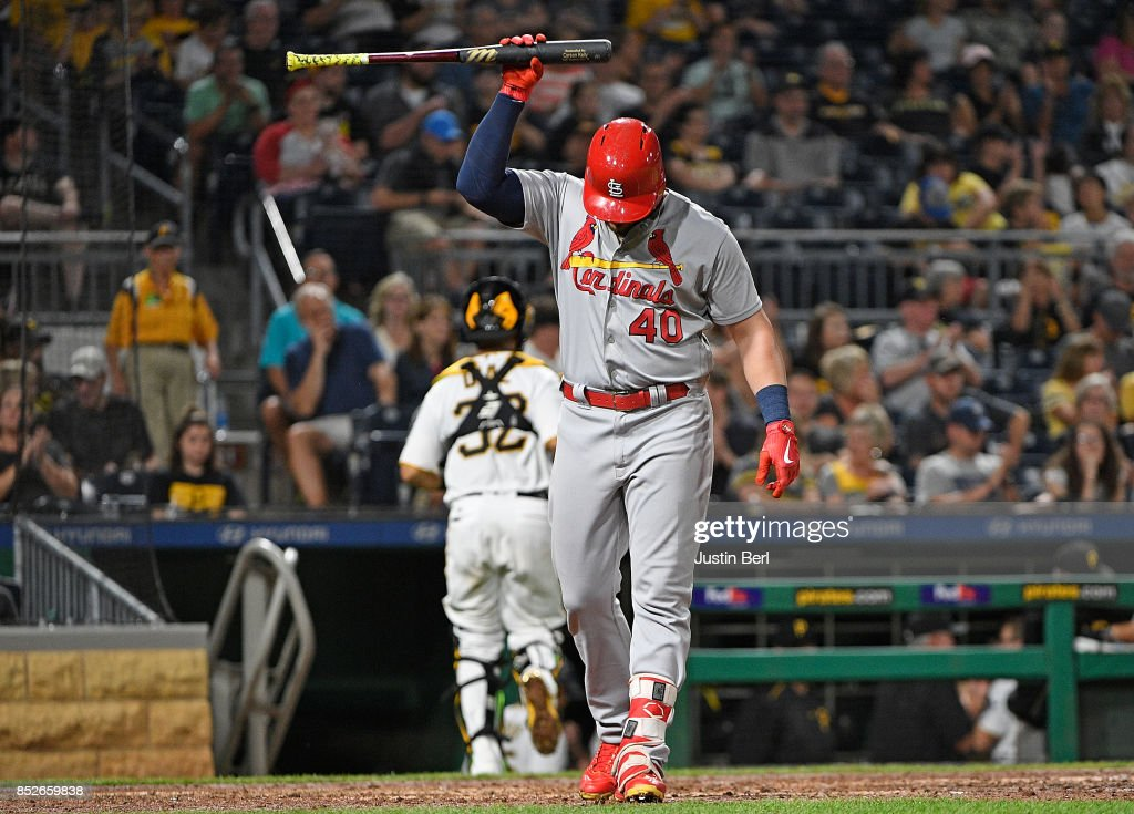 Luke Voit #40 of the St. Louis Cardinals slams his bat after striking out in the seventh inning during the game against the Pittsburgh Pirates at PNC Park on September 23, 2017 in Pittsburgh, Pennsylvania.