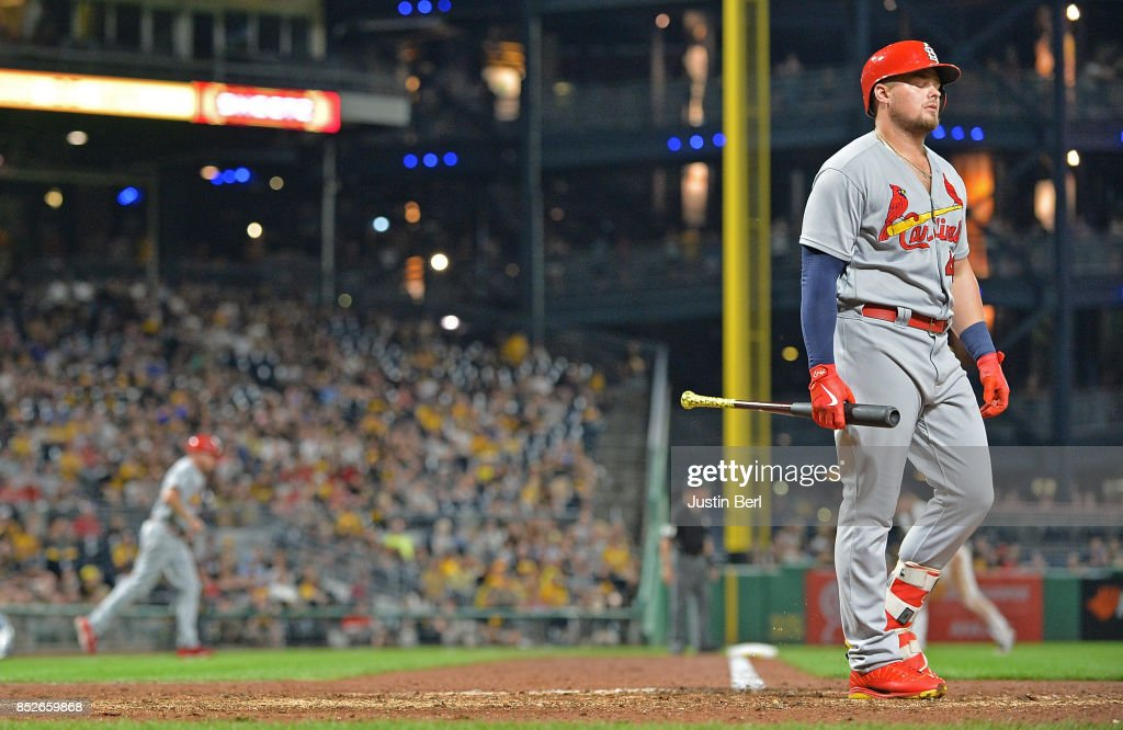 Luke Voit #40 of the St. Louis Cardinals walks back to the dugout after striking out in the seventh inning during the game against the Pittsburgh Pirates at PNC Park on September 23, 2017 in Pittsburgh, Pennsylvania.