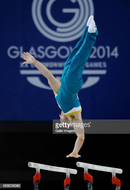 Luke Wadsworth of Australia on the parallel bars in the Gymnastics Artistic final during day 9 of the 20th Commonwealth Games at the Scottish...