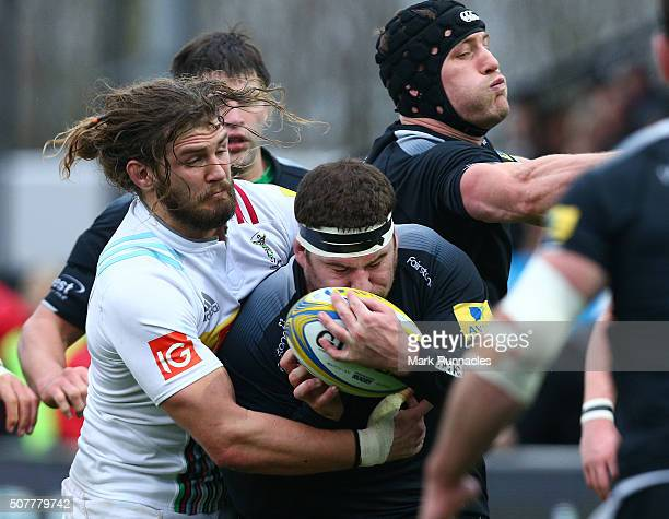 Luke Wallace , of Harlequins in action during the Aviva Premiership match between Newcastle Falcons and Harlequins on January 31, 2016 in Newcastle...