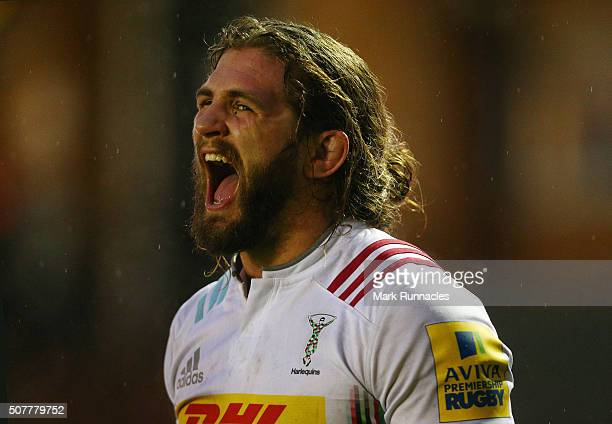Luke Wallace of Harlequins in action during the Aviva Premiership match between Newcastle Falcons and Harlequins on January 31 2016 in Newcastle Upon...