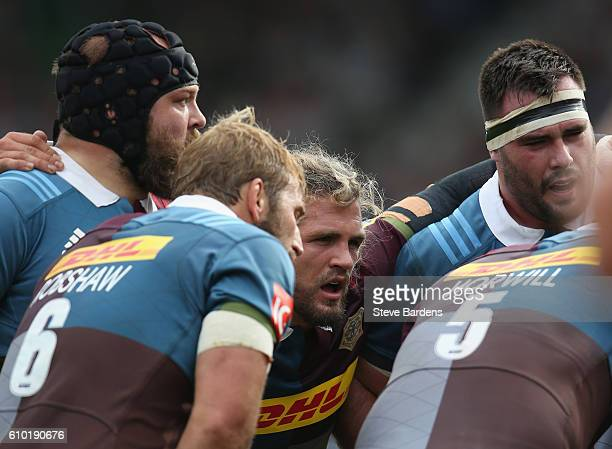 Luke Wallace of Harlequins in action during the Aviva Premiership match between Harlequins and Saracens at Twickenham Stoop on September 24, 2016 in...