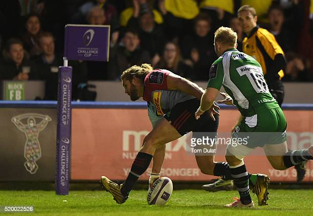 Luke Wallace of Harlequins scores the opening try during the European Rugby Challenge Cup Quarter Final match between Harlequins and London Irish at...