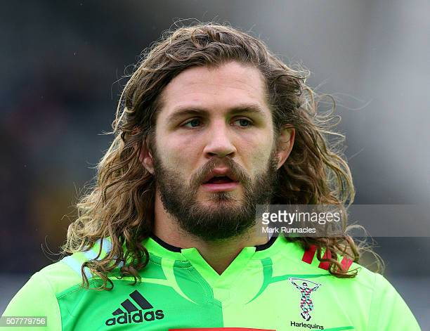 Luke Wallace of Harlequins warming up with his team mates ahead of the Aviva Premiership match between Newcastle Falcons and Harlequins on January...
