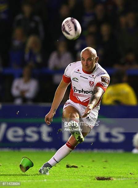 Luke Walsh of St Helens kicks a conversion during the First Utility Super League Semi Final match between Warrington Wolves and St Helens at The...
