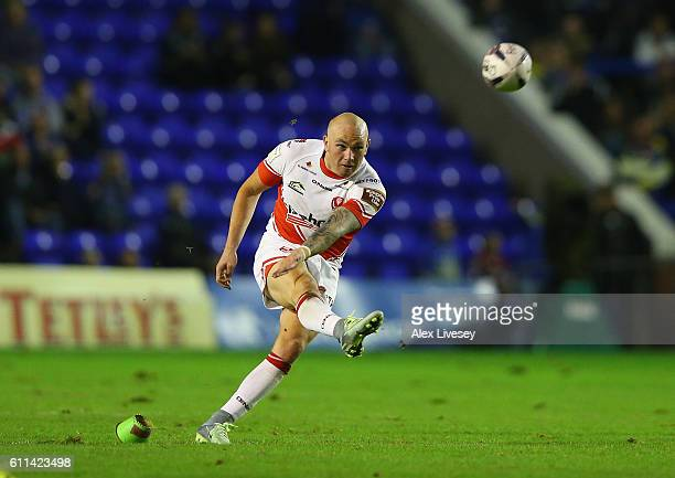 Luke Walsh of St Helens kicks a penalty during the First Utility Super League Semi Final match between Warrington Wolves and St Helens at The...