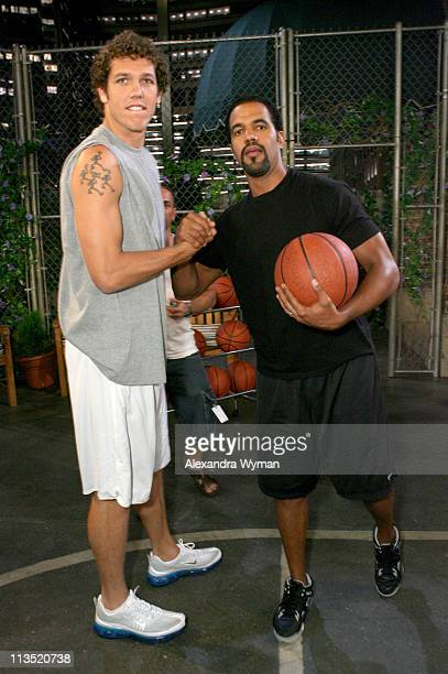 Luke Walton and Kristoff St John during Los Angeles Laker Luke Walton Makes His Daytime Debut on CBS' The Young and the Restless Set to Air August 30...