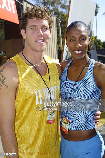 Luke Walton and Lisa Leslie during Nickelodeon's Worldwide Day of Play Backstage at Nick on Sunset Studios in Hollywood in Hollywood California...
