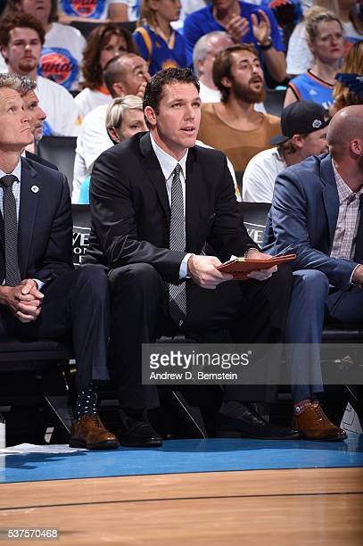 Luke Walton of the Golden State Warriors coaches against the Oklahoma City Thunder in Game Four of the Western Conference Finals during the 2016 NBA...