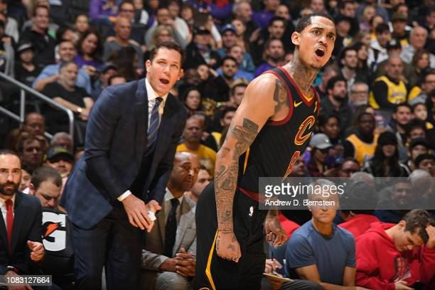 Luke Walton of the Los Angeles Lakers and Jordan Clarkson of the Cleveland Cavaliers react to a call during the game on January 13 2019 at STAPLES...