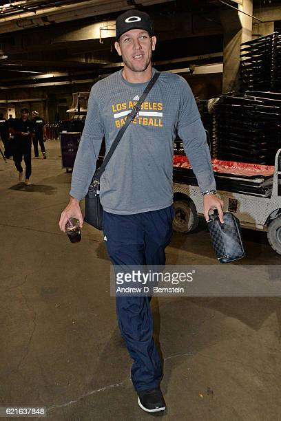 Luke Walton of the Los Angeles Lakers arrives at the STAPLES Center before the game against the Golden State Warriors on November 4 2016 in Los...
