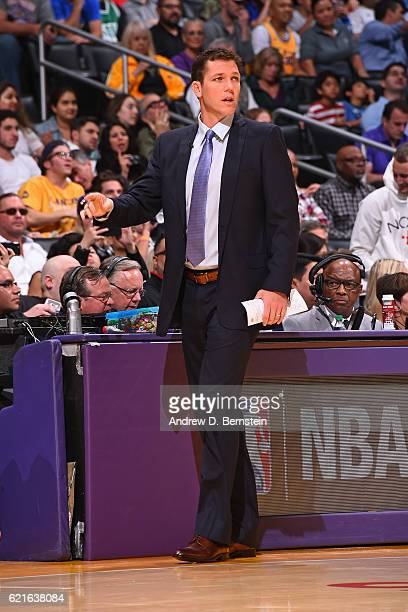 Luke Walton of the Los Angeles Lakers coaches against the Golden State Warriors on November 4 2016 at STAPLES Center in Los Angeles California NOTE...