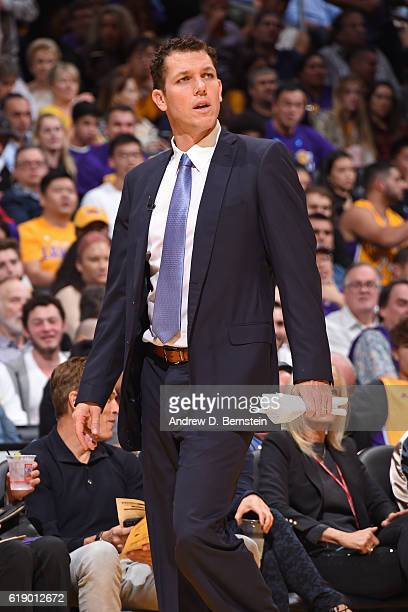 Luke Walton of the Los Angeles Lakers coaches against the Houston Rockets on October 26 2016 at STAPLES Center in Los Angeles California NOTE TO USER...