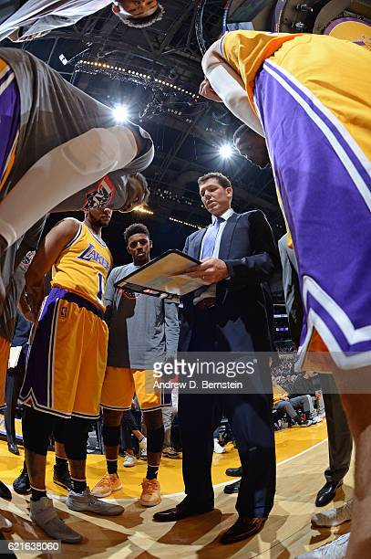 Luke Walton of the Los Angeles Lakers draws up plays before the game against the Golden State Warriors on November 4 2016 at STAPLES Center in Los...