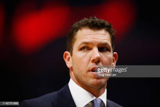 Luke Walton of the Los Angeles Lakers looks on during the first half of the game against the Los Angeles Clippers at Staples Center on April 05 2019...