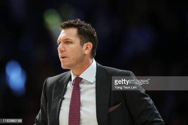 Luke Walton of the Los Angeles Lakers looks on during the second half against the New Orleans Pelicans at Staples Center on February 27 2019 in Los...