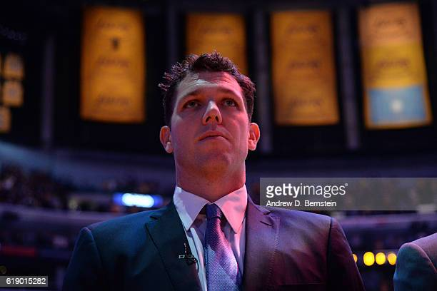 Luke Walton of the Los Angeles Lakers stands on the court before the game against the Houston Rockets on October 26 2016 at STAPLES Center in Los...