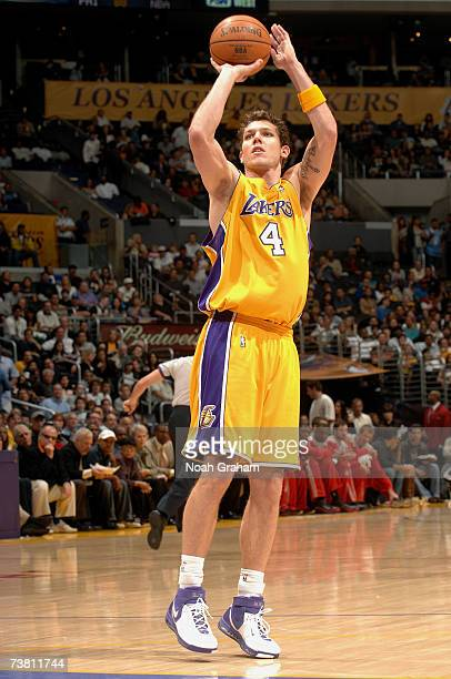Luke Walton of the Los Angeles Lakers takes a jump shot against the Houston Rockets during the game at Staples Center on March 30 2007 in Los Angeles...
