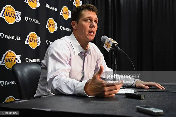 Luke Walton of the Los Angeles Lakers talks during a press conference after the game against the Houston Rockets on October 26 2016 at STAPLES Center...