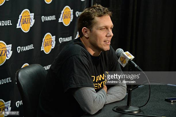 Luke Walton of the Los Angeles Lakers talks during a press conference before the game against the Houston Rockets on October 26 2016 at STAPLES...
