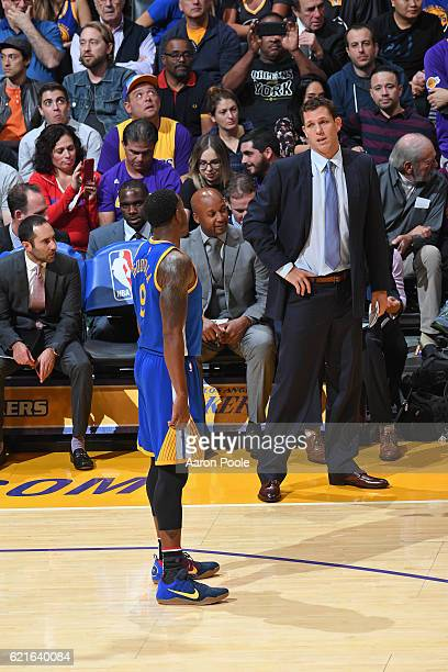 Luke Walton of the Los Angeles Lakers talks to Andre Iguodala of the Golden State Warriors during the game on November 4 2016 at STAPLES Center in...