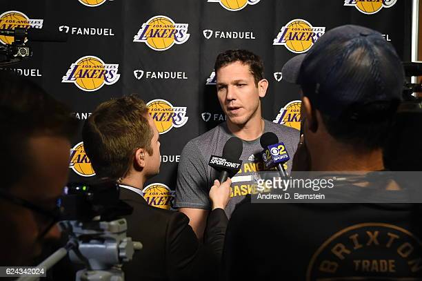 Luke Walton of the Los Angeles Lakers talks to the media before the game against the San Antonio Spurs on November 18 2016 at the Staples Center in...