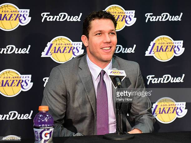 Luke Walton speaks to the press as he is introduced as the new head coach becoming the 26th Los Angeles Laker head coach at Toyota Sports Center on...