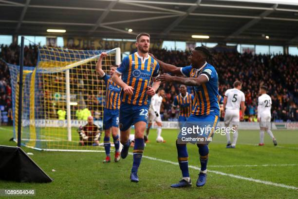 Luke Waterfall of Shrewsbury Town celebrates after scoring his team's second goal during the FA Cup Fourth Round match between Shrewsbury Town and...