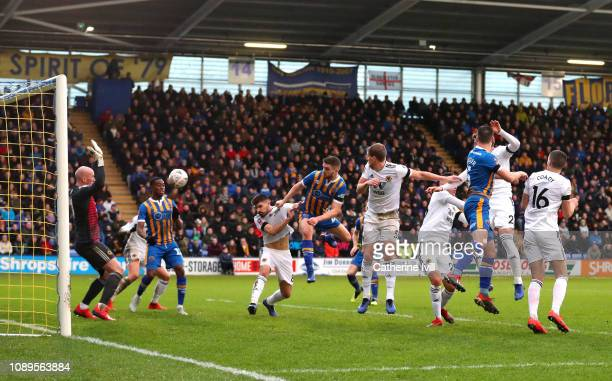 Luke Waterfall of Shrewsbury Town scores his team's second goal during the FA Cup Fourth Round match between Shrewsbury Town and Wolverhampton...