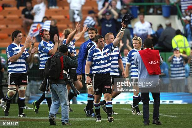 Luke Watson of Western Province thanks the Newlands crowd after the Absa Currie Cup semi final match between Western Province and Blue Bulls at...