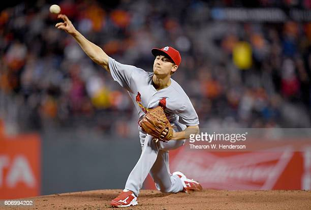 Luke Weaver of the St Louis Cardinals pitches against the San Francisco Giants in the bottom of the first inning at ATT Park on September 16 2016 in...