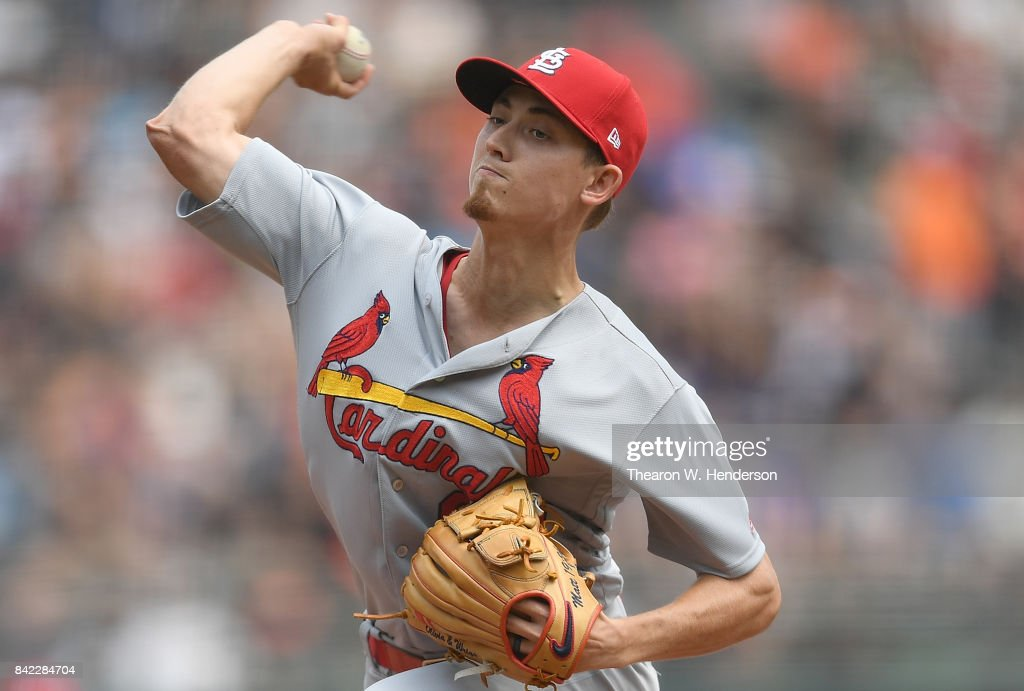 Luke Weaver #62 of the St. Louis Cardinals pitches against the San Francisco Giants in the bottom of the first inning at AT&T Park on September 3, 2017 in San Francisco, California.