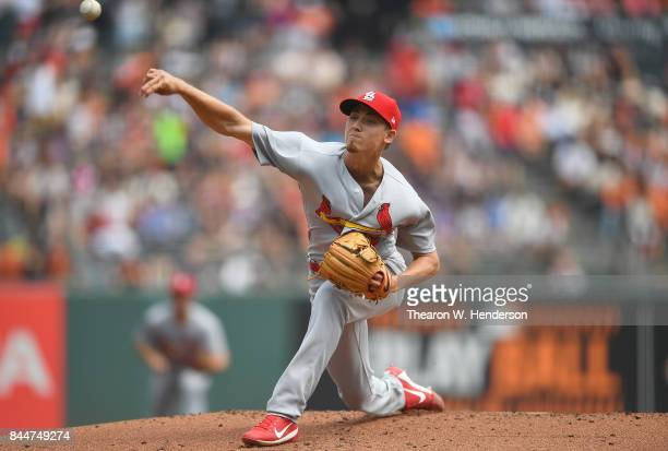 Luke Weaver of the St Louis Cardinals pitches against the San Francisco Giants in the bottom of the first inning at ATT Park on September 3 2017 in...