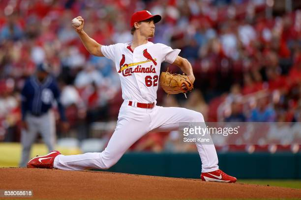 Luke Weaver of the St Louis Cardinals pitches during the first inning against the San Diego Padres at Busch Stadium on August 23 2017 in St Louis...