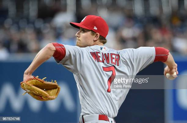 Luke Weaver of the St Louis Cardinals pitches during the first inning of a baseball game against the San Diego Padres at PETCO Park on May 11 2018 in...