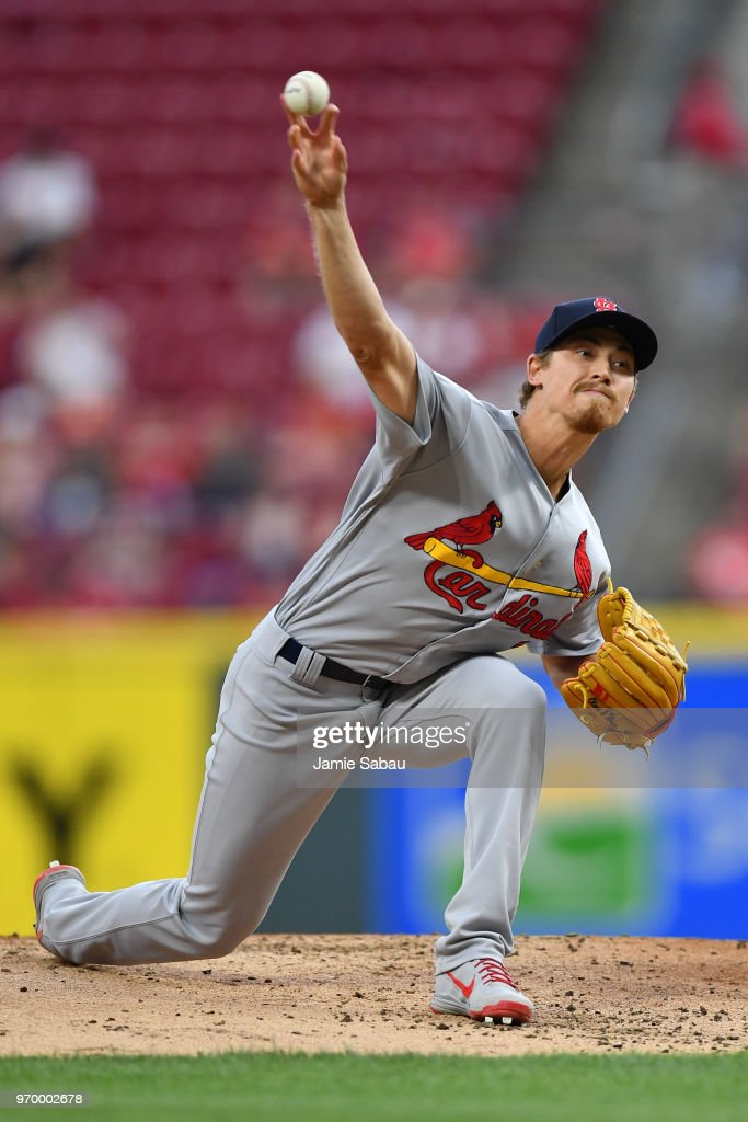 Luke Weaver #7 of the St. Louis Cardinals pitches in the first inning against the Cincinnati Reds at Great American Ball Park on June 8, 2018 in Cincinnati, Ohio.
