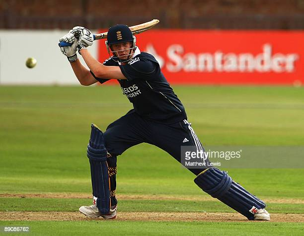 Luke Wells of England hits the ball towards the boundary during the Friends Provident One Day International match between England U19 and Bangladesh...