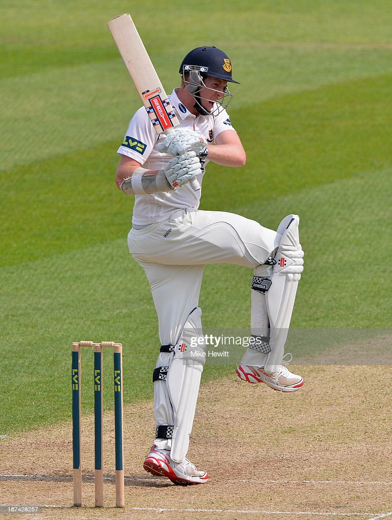 Luke Wells of Sussex hits out during day two of the LV County Championship Division One match between Surrey and Sussex at The Kia Oval on April 25, 2013 in London, England.