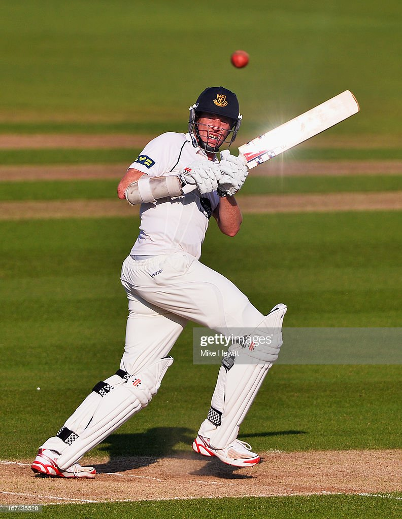 Luke Wells of Sussex hits out on his way to a century during day two of the LV County Championship Division One match between Surrey and Sussex at The Kia Oval on April 25, 2013 in London, England.