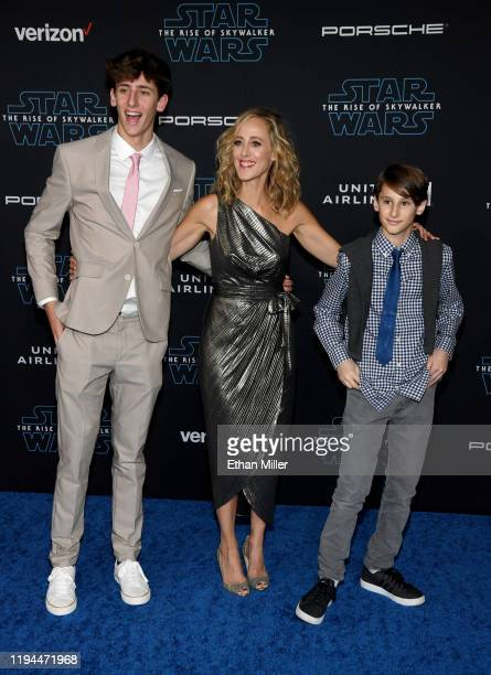 Luke West Boyer actress Kim Raver and Leo Kipling Boyer attend the premiere of Disney's Star Wars The Rise of Skywalker on December 16 2019 in...