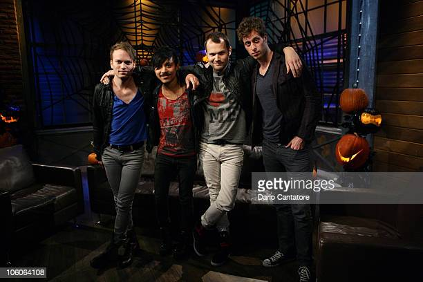 Luke White Eric Espiritu Philip Galitzine and Tobias Smith of Atomic Tom stops by Fuse's A Different Spin with Mark Hoppus airing October 28 2010 at...